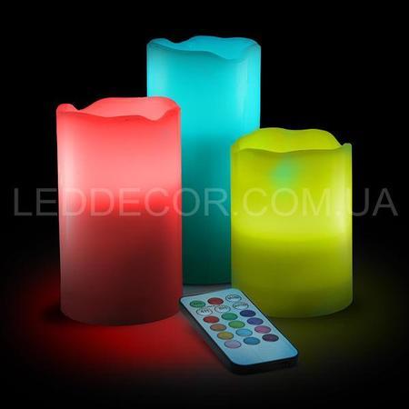 Свечи светодиодные многоцветные из воска с пультом ДУ
