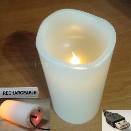 Cвеча светодиодная 15 см с USB зарядкой