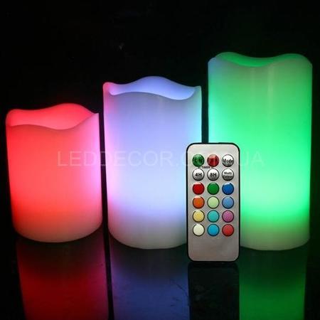 Свечи светодиодные многоцветные пластиковые с пультом ДУ