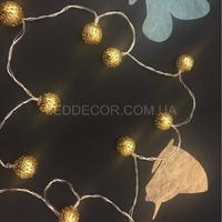 Светодиодная гирлянда шарики gold на батарейках