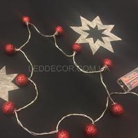 Светодиодная гирлянда шарики red на батарейках