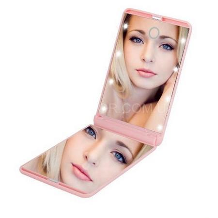 Зеркало для макияжа с подсветкой и увеличением Led Travel Mirror M9 pink