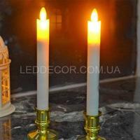 Свечи светодиодные тонкие из парафина с подсвечниками