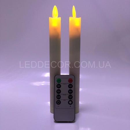 Свеча светодиодная с имитацией пламени тонкая с пультом ДУ