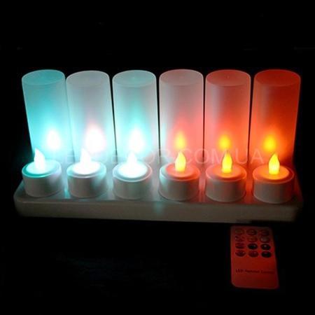 """Свечи """"чайные"""" светодиодные многоцветные с аккумулятором и пультом ДУ набор"""